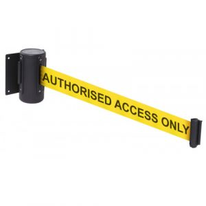 authorised access only yellow and black barrier webbing tape