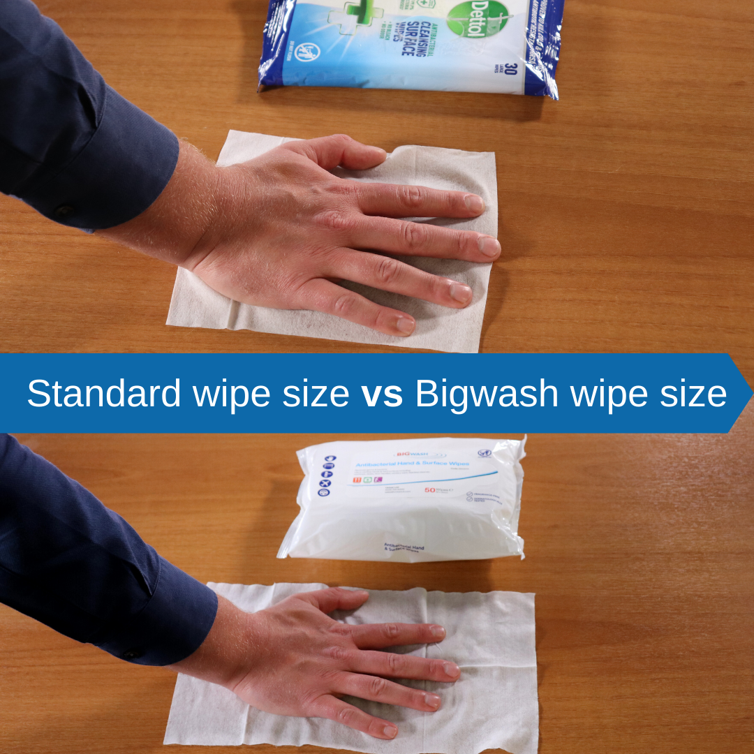 big wash antibacterial antiviral wipe size compared to dettol disinfectant wipes