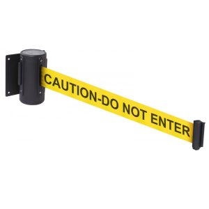 caution do not enter retractable wall mounted barrier webbing tape