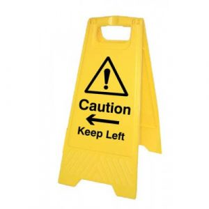 caution keep left yellow polypropylene aframe safety sign