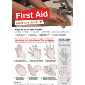 first aid wash your hands poster