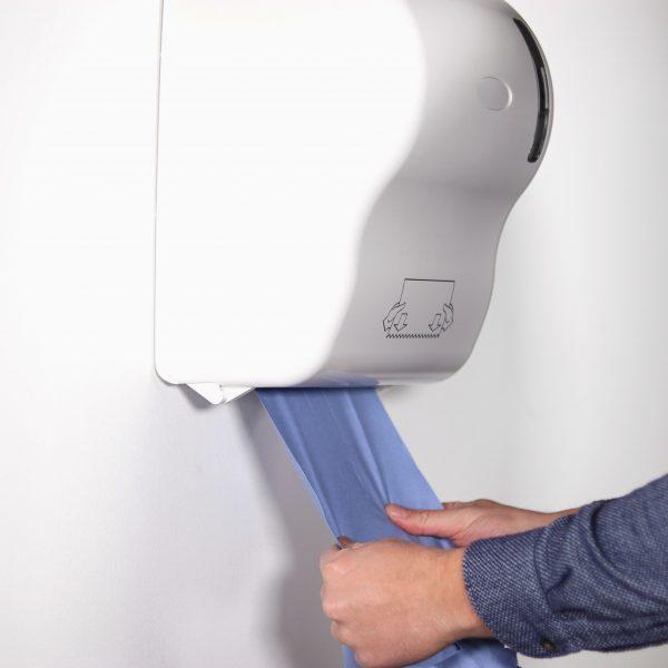 hanzl blue paper towel roll in auto cut dispenser