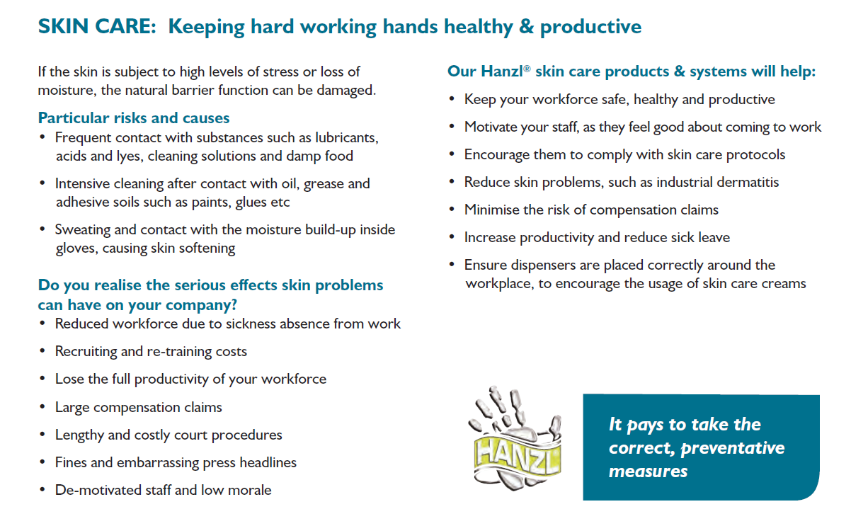 hanzl skin care and hand hygiene product benefits