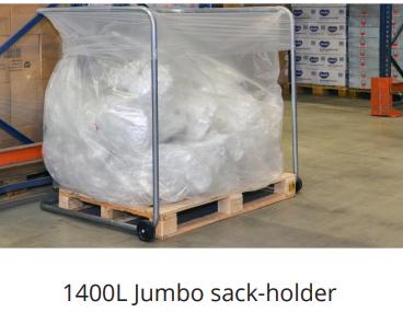 industrial bin jumbo sack holder for large loads of pallet wrap waste