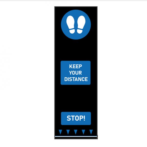 keep your distance social distancing blue footsteps floor mat