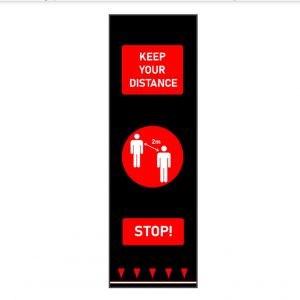 keep your distance social distancing red people floor mat