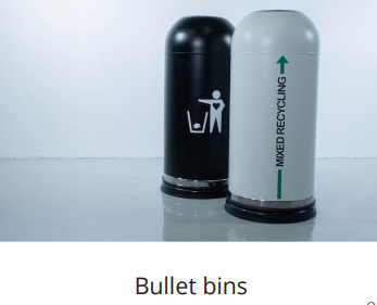 longopac bullet bins for general waste and mixed recyclingf