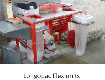 longopac flex bins on runners for under work benches
