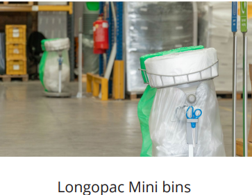 longopac mini bins for warehouse recycling and waste