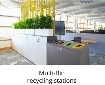 multibin office recycling bin station