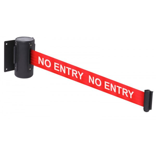 no entry retractable wall mounted barrier webbing tape