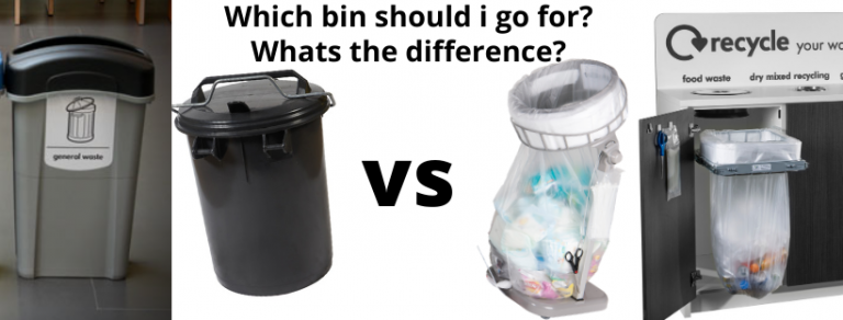 continuous liner bin bags vs standard waste and recycling bins