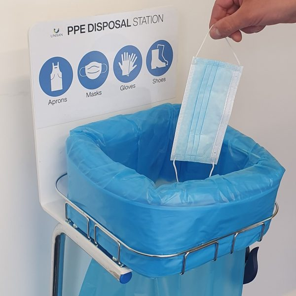 ppe disposal station for gloves masks aprons and shoes