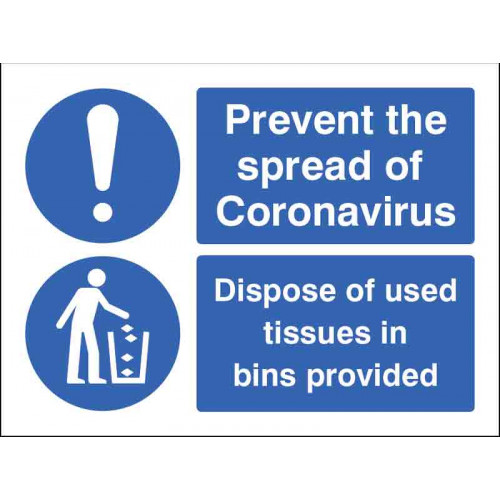 prevent the spread of coronavirus, dispose of used tissues in the bins provided poster