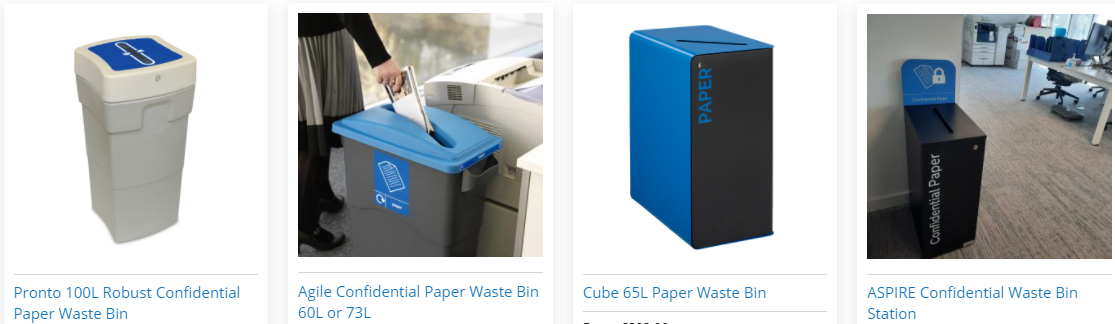 range of confidential paper waste bins from unisan
