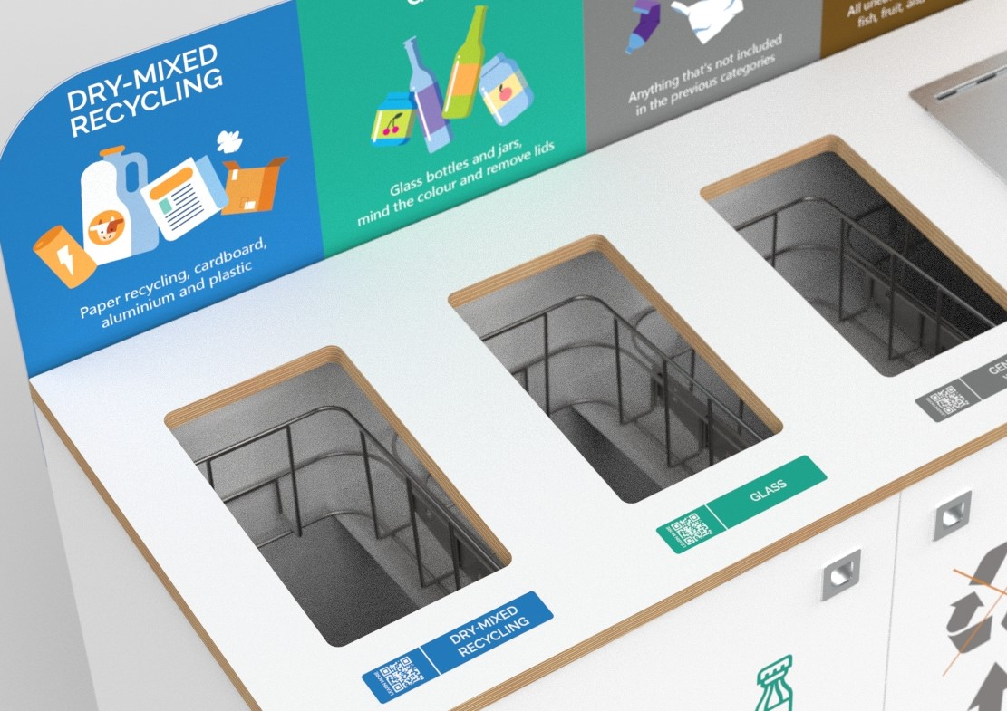 recycling bin station with QR codes on labels to show the journey of the waste