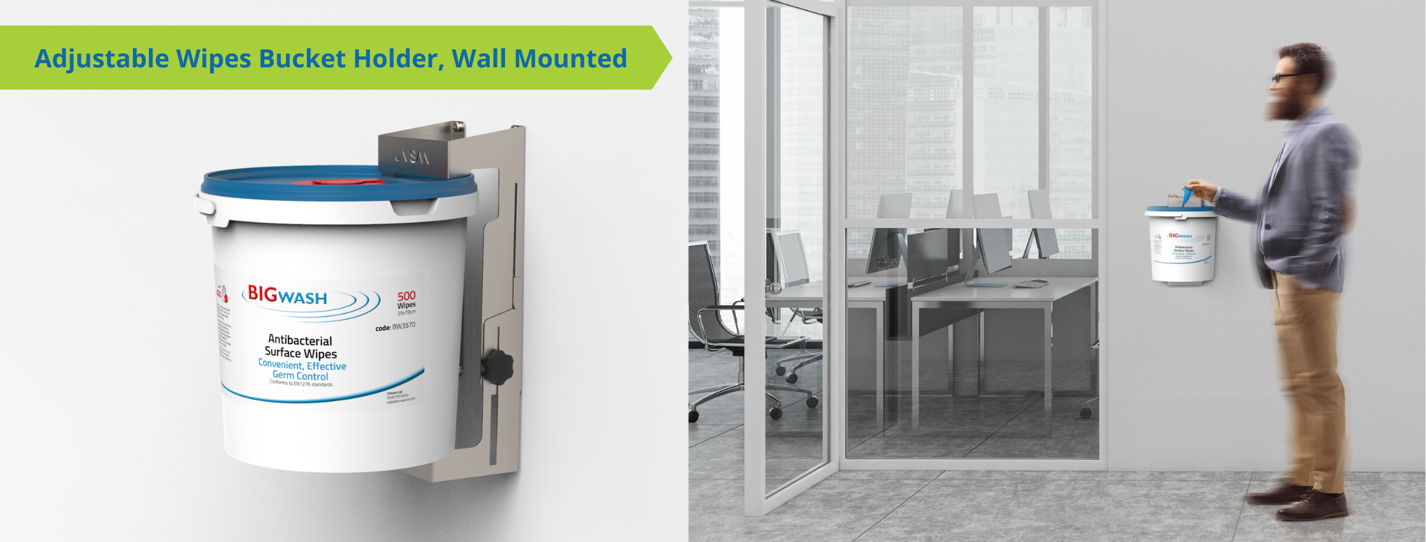wall mount wipe holder for buckets or tubs