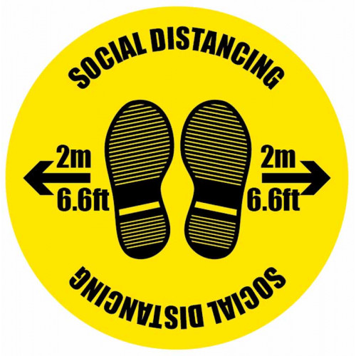 social distancing floor sticker sign