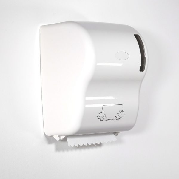 touch free hand towel dispenser with white paper towel roll