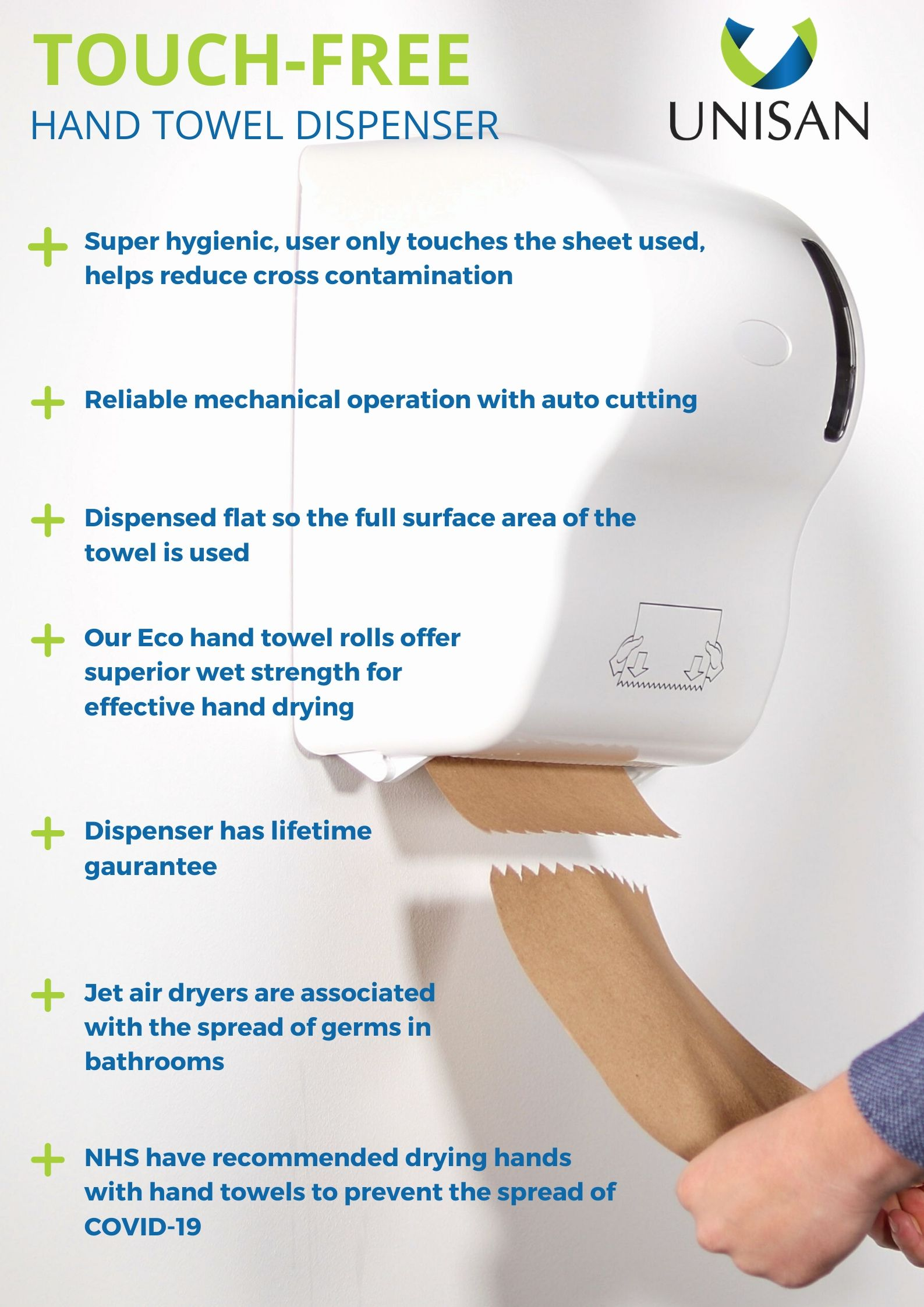 touch free hygienic hand towel dispensers