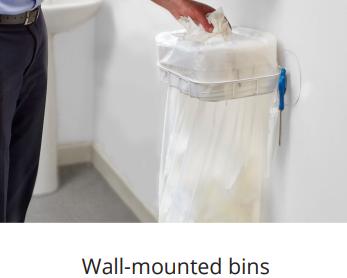 wall mounted bin for washroom waste