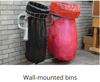 wall mounted bins for waste and recycling great for warehouses
