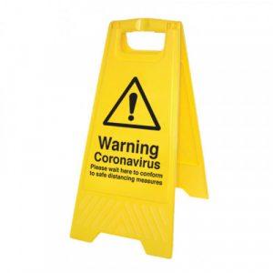 warning coronavirus yellow a frame safety sign
