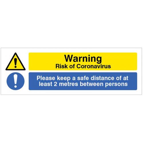 warning risk of coronavirus please keep a safe distance of 2 metres between people floor sign
