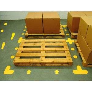 yellow floor signal markers for social distancing or safety